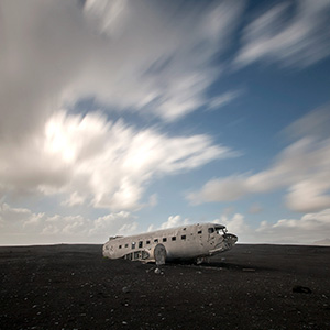Plane Wreck at Solheimasandur close to Vik, Black Sand Vulcan Desert, Iceland, Europe