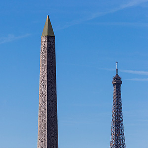 Place de la Concorde with Egypt Luxor Obelisk, lamps and Eiffel Tower, Paris, France