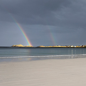 The Rainbows Ramberg Beach, White Sand Beach, Lofoten Islands, Norway, Scandinavia