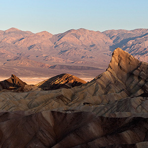 Zabriskie Point, Death Valley National Park, Sunrise, Sierra Nevada, California, USA