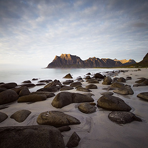 Uttakleiv Beach at sunset and neutral density filter, Lofoten, Norway, Scandinavia