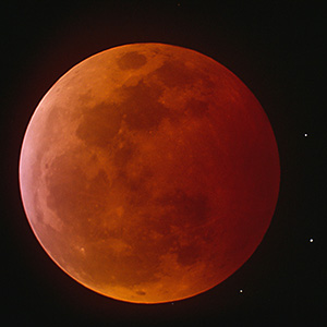 Total Lunar Eclipse with Red Moon and Starts, Meade LX 200, Scan from Slide Film, Kodak