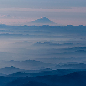 Fuji San Mountain, Volcano in Foggy Landscape and snow Summit, Japan, Asia