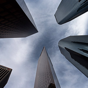 Downtown Los Angeles with Skyscrapers and extreme Perspective, California, USA