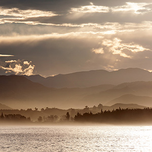 Coastline of Kairoura is beautiful light and haze, New Zealand, South Pacific Ocean