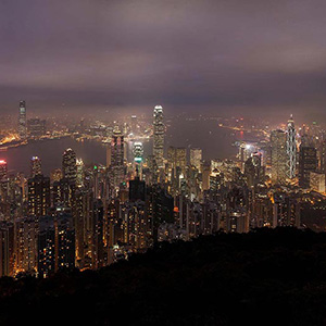 Hongkong Kowloon Night Skyline as seen from The Peak, China, Asia