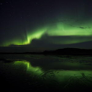 Dyrholavegur, Lagoon Reflection, Sudurland,  Aurora Borealis Northern Lights, Iceland
