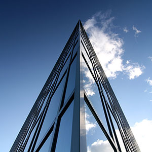 Glas Facade and Building in Triangle Shape with Blue Sky and White Clouds, Frankfurt Skyline, Germany, Europe