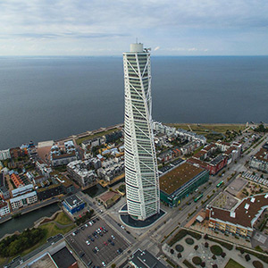 Turning Torso Modern Skyscraper, DJI Phantom 3, Drone, Malmo, Sweden, Europe