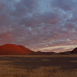 Sossusvlei Namib Desert Red Sand Dunes after Sunset glowing Red, Namibia, Africa
