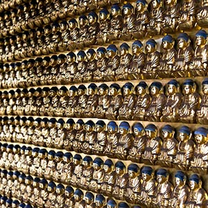 Endless Golden Buddha Statues in a Shrine in Tokyo, Japan, Asia