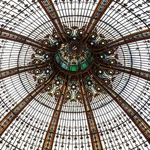 Art Deco @ Galerie la Fayette, beautiful ceiling in a shopping center, Paris, France
