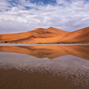 Desert Lake, water and san dunes in Sossusvlei, Namib Desert after rain, Namibia, Africa