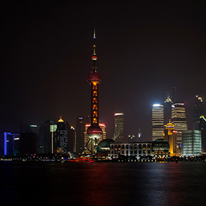 Shanghai at night, The Bend, Long Exposure with Illuminated Skyscrapers, China, Asia