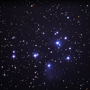 Pleiades Open Start Cluster in Constellation Taurus, R200SS Telscope, Scan from Slide Film
