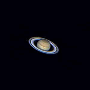 Saturn with Cassini Gap in Rings, Cloud Details, Celestron 8 Telescope,  Webcam, Stacked Images, 18.01.2004