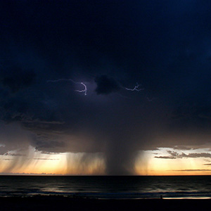 Tropical Thunderstorm at a beach in Broome, Pacific, Indian Ocean, Western Australia