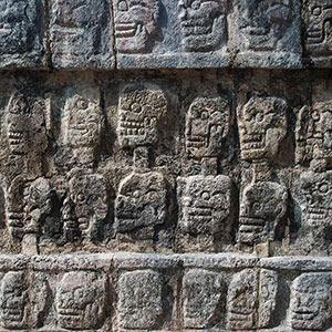 Maya Temple Chichen Itza with Stone Skulls, Yucatan, Dragon, Lizard, Mexico