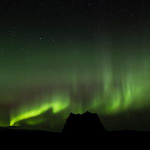 Hjorleifshofdi, Mountain Silhouette, Sudurland,  Aurora Borealis Northern Lights, Iceland