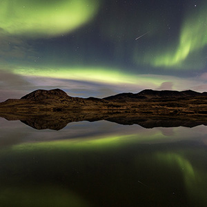 Lake Reflection with Satellite Trail, Snaefellsnes Aurora Borealis Northern Lights, Iceland