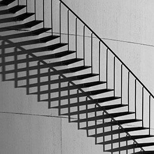 Shadows of a Metal Stair, Fuel Tank, Frankfurt, Germany, Europe