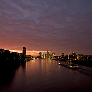 Frankfurt Skyline Skyscrapers at night, Main River, Dramatic Sky, Germany, Europe