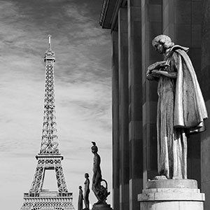 Musee de l' Homme, statues and the Eiffel Tower in black & white, Paris, France
