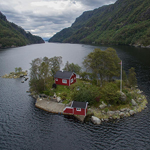 Private Island with Traditional Scandinavian Wood House, DJI Phantom 3 , Drone, Norway, Europe