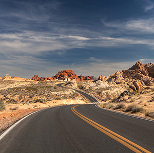 Road through Colorful Valley of Fire State Park, Las Vegas, Nevada, USA