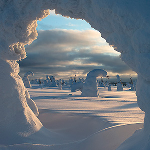 Natural Window, trees bending with snow like a natural arch in Finland, Lapland, Riisitunturin National Park near Posio