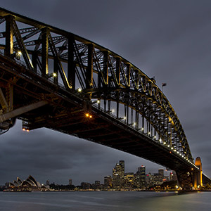 Sydney Skyline Night with Harbour Bridge and Opera House, New South Wales, Australia