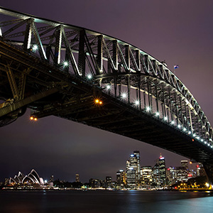 Sydney Skyline with Harbour Bridge and Opera House, New South Wales, Sydney, Australia