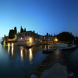Private Pier at the Lago di Garda, Exclusive Restaurant, Long Exposure, Night, Italy, Europe