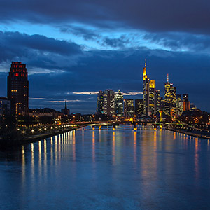 Frankfurt Skyline with Main River, Long Exposure, Illuminated Skyscrapers, Germany, Europe
