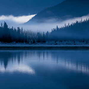 Lower Waterfowl Lake Foggy Frosty Sunrise, Banff National Park, Alberta, Canada