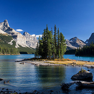 Maligne Lake, Island, Rocky Mountains ,Jasper National Park, Alberta, Canada,