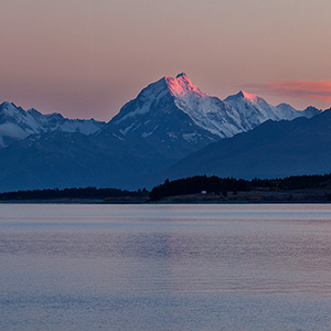 Aoraki Mount Cook Red Glowing Summit at Sunrise, Southern Alps, New Zealand