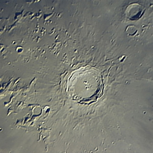 Moon Lunar Crater Copernicus, Meade LX 200 Telescope TUCAM Webcam, Stacked Image