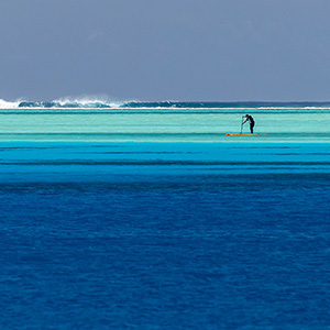Stand Up Paddle at the Reef, Bora Bora, French Polynesia, South Pacific Ocean