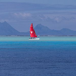 Catamaran Boat on the Reef, Bora Bora, French Polynesia, South Pacific Ocean