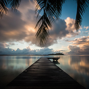 Jetty at Sunrise, Long Exposure, Bora Bora, French Polynesia, South Pacific Ocean