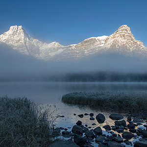 Lower Waterfowl Lake Foggy Beautiful Sunrise, Banff National Park, Alberta, Canada