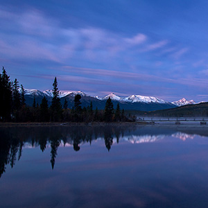 Pyramid Lakes, Sunrise, Jasper National Park, Blue Cold Light, Alberta, Canada