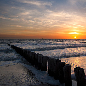 Sunset at the North Sea Beach, Holland, Netherland, Europe