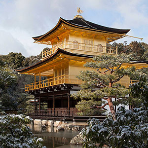 Kinkaku Ji Golden Temple with Snow, Unsesco World Heritage, Kyoto, Japan, Asiua
