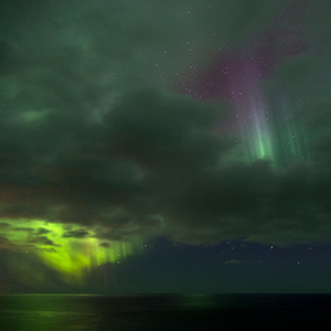 Light breaking through Clouds, Snaefellsnes Aurora Borealis Northern Lights, Iceland
