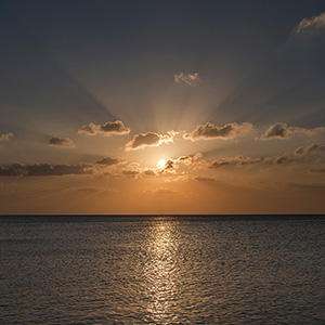 Sun Rays during Sunset, Caribbean Ocean, Holbox, Yucatan, Mexico