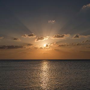 Sun Rays during Sunset, Caribbean Ocean, Holbox, Yucatan, Mexico