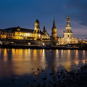 Dresden, beautiful historical city with the Elbe river at a blue hour long exposure, Saxony, Germany