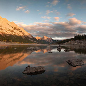 Medicine Lake at Sunset, Jasper National Park, Alberta, Canada
